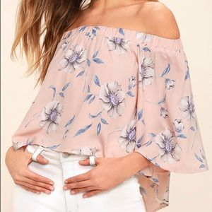 Lulu's Light Of Dawn Pink Off-The-Shoulder Top